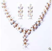 Pearl Jewelry Sets Gold Plated Design Bridal Jewelry Woman's Necklace Earring Set Party Gifts