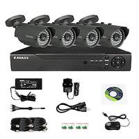 KAVASS 4CH CCTV DVR Kit (P2P,H. 264, 4 Outdoor Waterproof Color Cameras)