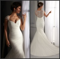 2014 Sexy Sweetheart Beaded Straps Ruched Lace Mermaid Wedding Dress Ivory Wedding Gowns Bride Dress Robe De Mariage