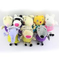 8 pcs/set pelucia peppa pig family pepa toy plush peppa's friends stuffed girls kids gift doll