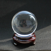 Free Shipping hot selling quartz crystal ball sphere 80mm ball + wooden base for home decoration