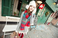 180*33cm Christmas deer in autumn and winter thick wool scarf Ms. national wind sided snowflake warm shawl