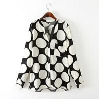 New Fashion Ladies' elegant dots print blouse vintage v neck long sleeve pocket OL shirts casual slim  tops--H909