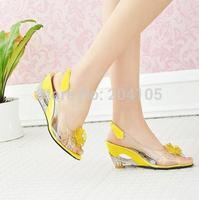 Summer Crystal Heel Sweet Flowers Diamond Fish Mouth Hollow Transparent High-heeled Women Shoes Pump