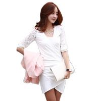 Sexy Women Clothes V-neck Lace Crochet Mini Pencil Dress Fashion Fold Desigual Elegant White Dresses Vestido De Renda Curto 475