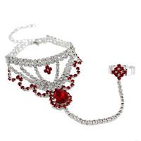 2014 New Elegant Bohemia Women Unique Rhinestone Round Small Flower Chain Women Bracelets Bangles,Wedding Jewelry Free shipping
