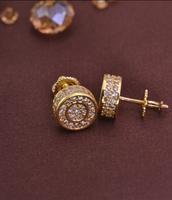 LSE851 Copper zircon earring men screw back stub men earrings gold plating , free shipping