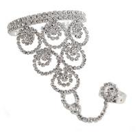 2014 New Elegant Luxury Rhinestone Silver Triangle Round Flower Chain Women Bracelets Bangles,Wedding Jewelry Free shipping