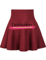 Latest Clothing Design 2014 Summer Popular in Europe Women's Fashion Red High Waist Ruffle Skirt