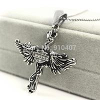Free Shipping! 5pcs/lot Wholesale  Punk Rock Crystal Biker CZ Zircon Angel Feather Casting Pendant Jewelry