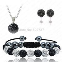11*10MM CZ Crystal Ball Premium Shamballa Jewelry Sets Shambala Bracelet&Earring&Necklace Black&White Fashion Silver Jewelry