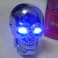 momo universal gear shift knob car  skull head modification lighted shift knob gear stick blue LED metal head car gear knob