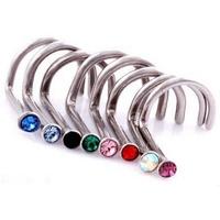 5Lot/50PCS Women Surgical Steel Rhinestone Nose Ring Bone Stud Body Piercing Jewelry Free Shipping