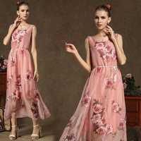 New 2015 Summer Women Fashion Elegant Loose Waist Sexy O-neck Sleeveless Flower Print Chiffon Tank Long Party Dresses