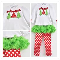 2014 Xmas Dot Clothing Set(T-shirt+Pants),Baby Girls Cotton Velvet Christmas Tree Tutu Culottes Suit 1-5Yrs 5Set /Lot