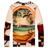 2014 New Fashion Large Sizes M-3XL Men's V-neck Letters Beach 3D printing Long sleeved  t shirt Casual Slim Men  t shirt