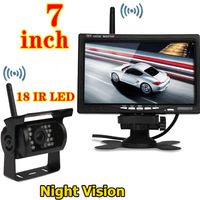 "12-24V Wireless 18LED Night Vision Reversing Camera + Wireless 7"" LCD Monitor Car Rear View Kit for Bus Vehicle Truck Caravan"
