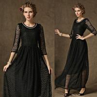 2014 Autumn Winter Women Dress Vestidos Femininos Half Sleeve Mesh Lace Dress Casual Plus Size Long Maxi Dresses For Women 14890