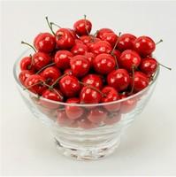 Free Shipping,50pcs/lot Simulation Fruit Plastic Cherries Home Hotel Restaurant Decor Shoot Props Toys