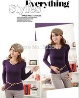 [No.24]Autumn cotton basic shirt for women Korean style O-neck solid t shirt Fashion slim puff sleeve women's t-shirt