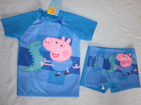 Retail Free shipping Peppa pig swimwear  baby boys SUV sun protection anti-uvswimmer bather t shirt and shorts