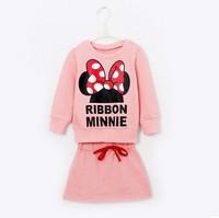 Fashion baby girls cartoon minnie clothing set Minnie hoodies + skirt set  2 pcs set Christmas gift