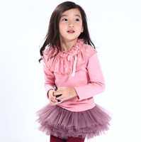 New Fall Baby Girl Knitting Ruffles Dot Collar  T-shirt,  Kids Sweet Top  10 pieces/lot, Wholesale