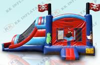 fun pirate inflatable moonwalk bounce slide with logo printing KKIC-L036