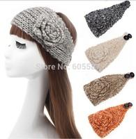 2014 New Winter Crochet Headbands For Women Fashion Warm Knitted Flower Headband Sequin Paillette Women Headwrap 10 pieces / lot