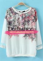 2014 Autumn Elegant Latest Fashion Women's White Round Neck Three Quarter Length Floral Loose Casual Blouse