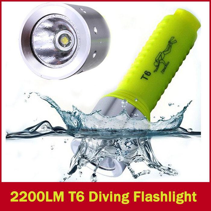 Hot Sale 2200LM Underwater Diving Flashlight CREE XM-L T6 LED Flashlight Torch Lamp 60M Waterproo FLT-035(China (Mainland))