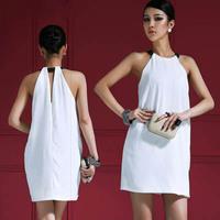 New 2014 women dress short party dress vestidos de festa hot&sexy halter off the shoulder dress party evening elegant