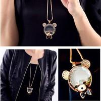 10xNew Fashion Jewelry Crystal Choker Bear Pendant colorful rhinestone Necklace