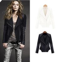2014 New Fashion Unique Women Coat  Slim Zipper Jacket Women All -match Coat Black White