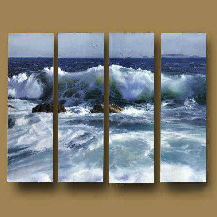 Pintado à mão 4 peça pintura a óleo paisagem sobre tela arte da parede imagem onda do mar(China (Mainland))