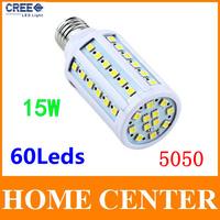 E27 Led 220V SMD 5050 15W 60leds Corn Bulb Led Lamp warm white cold  white bulb led lighting with tracking number