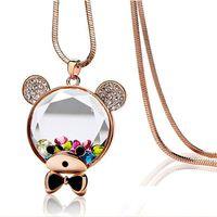 New Fashion Jewelry Crystal Choker Bear Pendant colorful rhinestone Necklace