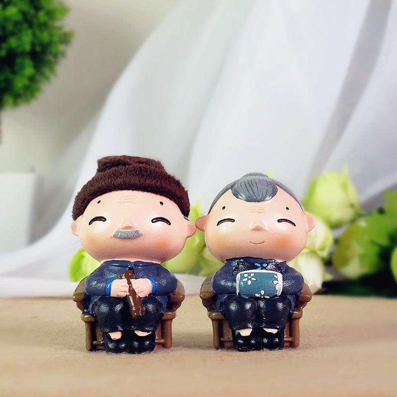 Casal feliz velha Granny pastoral decoração de casamento presente de casamento ornamentos de ouro presentes anciãos(China (Mainland))