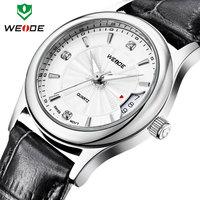 Fashion ladies watch brand WEIDE 2014 genuine leather straps watches calendar rose gold clock waterproof quartz free shipping