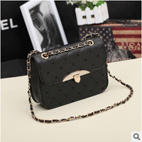 Factory price 2014 new high-grade imitation leather retro handbags Rhinestone Buckle Lingge chain bag