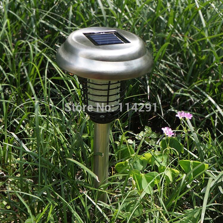 nova 2014 lsmee 2 led aço inoxidável erradicação do mosquito lâmpada solar do gramado luminaria iluminação solar ao ar livre lâmpada solar da decoração(China (Mainland))