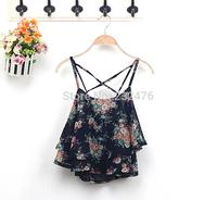 Free shipping! Fashion Women Sleeveless Top Ladies Spaghetti Strap Flower Floral Print Chiffon Top Classic Top