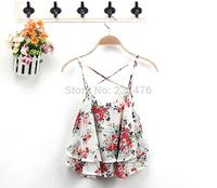 Free shipping!Fashion Classic Sleeveless Top Ladies Spaghetti Strap Flowers Print Chiffon Top