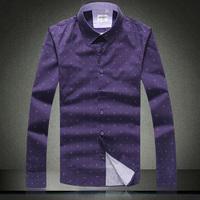 Famous EU brand men's shirt Autumn/winter long-sleeved shirt slim fit dot jacquard designer 100% cotton male shirt purple a688