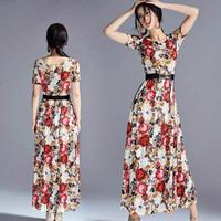 Free shipping new 2014 autumn women's dress long print slim waist vintage lace dress vestido de festa Women's Clothing