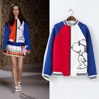 L27910 Woman Patchwork Coat 2014 Fall and Winter baseball uniform jacket Woman Sport Jacket Dog Pattern Cartoon Jacket