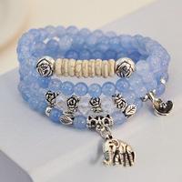 Natural blue crystal bracelets silver plated elephant lotus flower beads multilayer women bracelet jewelry elastic line 0245