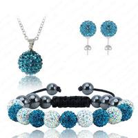 Rainbow&Dark Blue Crystal Ball Shamballa Jewelry Sets Fashion Shamballa Bracelet&Necklace&Earring Set Shambala Charms Free