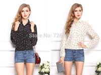 S-XL Fashion 2015 Autumn Plus Size Blusas anchor Printed Shirt Women Blouses Long Sleeve Chiffon Blouse