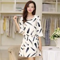 Autumn 2014 women's dress twinset elegant half sleeve elegant dress loose set